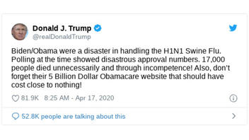 Fact Check: Trump Tweet On Swine Flu Death Toll and Obamacare Website Is Misleading
