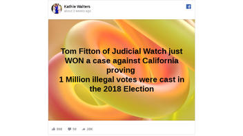 Fact Check: Judicial Watch Settlement Did NOT Prove 1 Million Illegal Votes Were Cast In 2018 Election