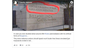 Fact Check: Bill & Melinda Gates Foundation HQ Does NOT Read 'Center for Global Human Population Reduction'