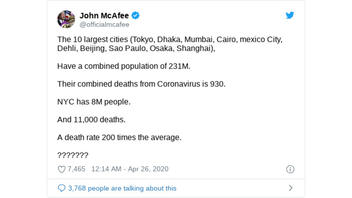 Fact Check: COVID-19 Death Rate In NYC Is NOT 200 Times Higher Than World's 10 Largest Cities