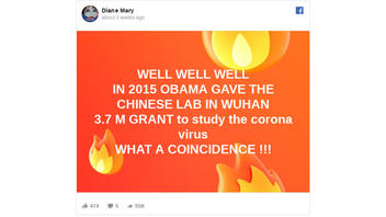 Fact Check: Obama Did NOT Give $3.7 Million Grant To Wuhan, China, Virology Lab To Study Coronavirus