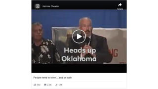 Fact Check: Greg Evensen's 'Heads Up Oklahoma' Posted By Johnnie Cheadle Is NOT About 2020 Coronavirus