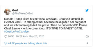 Fact Check: Donald Trump Did NOT Kill Carolyn Gombell; She Is NOT Real, But The Creation Of A Twitter Parody Account