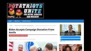 Fact Check: Biden Did NOT Accept Campaign Donation From Antifa