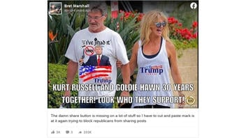 Fact Check: Photo Does NOT Show Kurt Russell and Goldie Hawn Wearing Trump Apparel