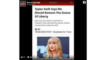 Fact Check: Bogus Screenshot Falsely Claims Taylor Swift Said We Should Remove The Statue of Liberty
