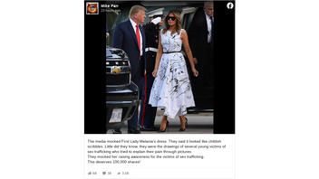 Fact Check: Melania Trump's Mount Rushmore Dress Does NOT Feature Drawings Of Young Victims Of Sex Trafficking