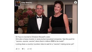 Fact Check: Fauci NOT Married To Ghislaine's Sister, NOT Getting Rich Off Covid-19 Vaccine