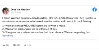 Fact Check: Walmart Can And Does Require All Shoppers To Wear Face Masks; 'Reference Number' Will Not Exempt You