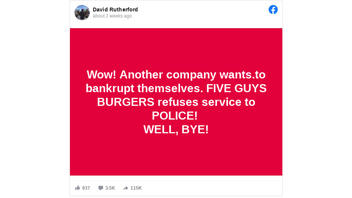 Fact Check: Five Guys Burgers Does NOT Refuse Service To Police; Workers Who Did At One Location Were Fired/Suspended