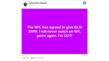 Fact Check: NFL Did NOT Agree To Give $250M To BLM