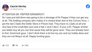 Fact Check: There Is NOT An Upcoming Shortage Of Dr. Pepper Because Of The Coronavirus