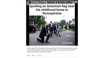 Fact Check: Biden Did NOT Kneel At An American Flag In His Hometown