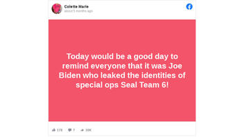 Fact Check: Joe Biden Did NOT Leak The Identities Of SEAL Team 6 Members