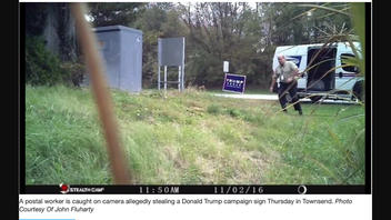 Fact Check: A USPS Carrier Was Caught On Camera Stealing A Trump-Pence Campaign Sign... In 2016