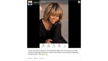 Fact Check: NO Evidence That Tina Turner Is Dying From Stomach Cancer And Rejection Of A Kidney