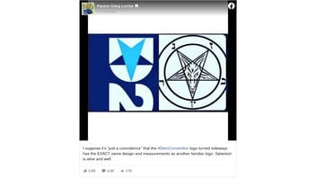 Fact Check: Democratic Convention Logo Does NOT Have The 'EXACT Same Design And Measurements' As Satanic Insignia