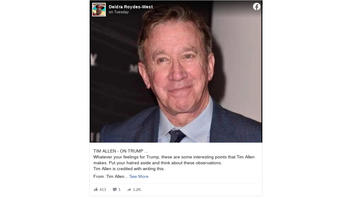 Fact Check: Actor Tim Allen Did NOT Write A Pro-Trump Post