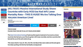 Fact Check: NO 'Massive International Study' Shows Countries with Early HCQ Use Had 79% Lower Mortality Rate