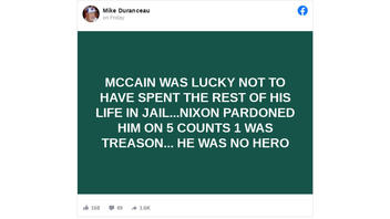 Fact Check: Nixon Did NOT Pardon The Late John McCain -- McCain Was Never Charged With Anything, Never A Reason For A Pardon