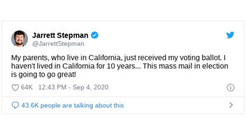 Fact Check: Jarrett Stepman Did NOT Receive A Ballot To A Home Where He Doesn't Live - He Received A Voter Information Packet