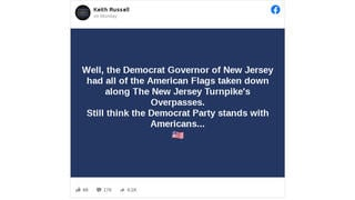 Fact Check: The Democratic Governor Of New Jersey Did NOT Have All The American Flags Taken Down From Highway Overpasses