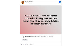Fact Check: KXL Radio in Portland NEVER Reported That Firefighters Were Shot At While Responding To Western Wildfires