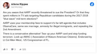 Fact Check: AARP Did NOT Spend 'Millions In TV Ads Targeting Republican Candidates' -- Nonprofit AARP Is Prohibited From Involvement In Any Political Campaigns