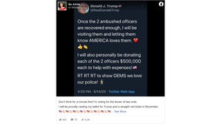 Fact Check: Donald Trump Did NOT Tweet That He's Donating $500,000 Each To Two Wounded Deputies