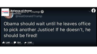 Fact Check: Donald Trump Did NOT Tweet 'Obama Should Wait Until He Leaves Office To Pick Another Justice! If He Doesn't, He Should Be Fired!'