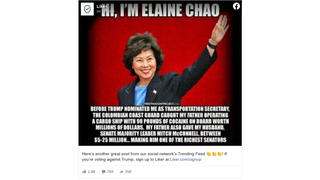 Fact Check: Transportation Secretary Elaine Chao's Father NOT 'Caught' With 90 Pounds Of Cocaine Aboard Cargo Ship