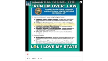 Fact Check: Florida Governor Did NOT Sign A 'Run Em Over' Law