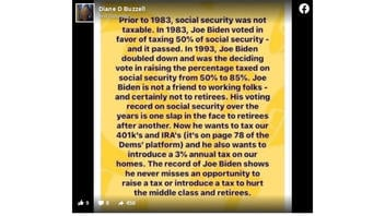 Fact Check: Joe Biden Voted For Taxing 50% Of Social Security For Higher Incomes In 1983; He Was NOT The 'Deciding Vote' To Raise It To 85% In 1993