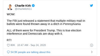Fact Check: FBI Did NOT Say Military Mail-In Ballots Were Found In A Pennsylvania Ditch
