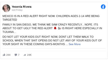 Fact Check: Mexico Is NOT On 'Red Alert' And There Are NO Credible Reports Of Minors Being Kidnapped For Organ Harvesting