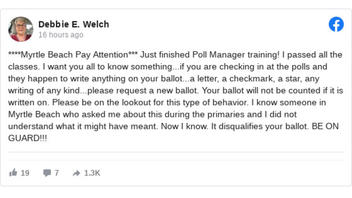 Fact Check: Poll Managers In Myrtle Beach Have NO Reason To Write On Ballot And It Will NOT Be Disqualified If A Poll Manager Writes On It