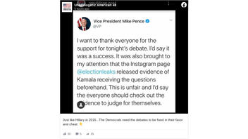 Fact Check: Vice President Mike Pence Did NOT Tweet Kamala Harris Received Debate Questions Beforehand