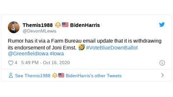Fact Check: The Iowa Farm Bureau Did NOT Withdraw Its Endorsement Of Republican Sen. Joni Ernst