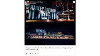 Fact Check: Projection Of The Biden-Harris Logo On A Harley-Davidson Building Was NOT An Endorsement By The Business
