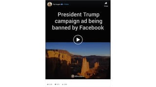 Fact Check: Facebook Did NOT Ban This 'President Trump Campaign Ad' -- Which Isn't Really A Trump Ad