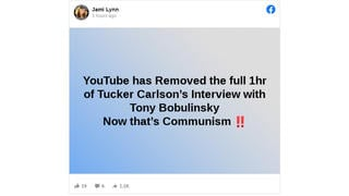 Fact Check: YouTube Did NOT Remove Tucker Carlson's Full Interview With Tony Bobulinski