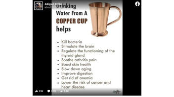 Fact Check: NOT Enough Science Backing Claims That Drinking Water From Copper Cup Yields Host Of Health Benefits