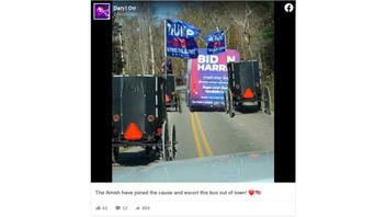 Fact Check: The Biden Campaign Bus Was NOT Surrounded By Horse-Drawn Buggies On A Country Road