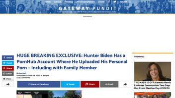 Fact Check: Screenshot And Blogger's Proprietary Technology Do NOT Provide Proof That Hunter Biden Has PornHub Account With Family Photos
