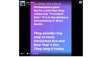 Fact Check: Berlin's Freedom Bell Did NOT Ring To Celebrate Joe Biden's Win