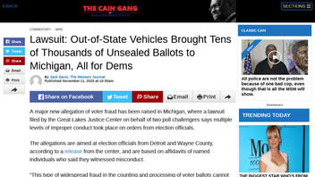 Fact Check: Lawsuit Does NOT Claim Out-Of-State Vehicles Brought Tens Of Thousands Of Unsealed Ballots To Michigan, All For Dems