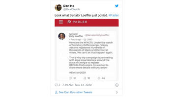Fact Check: Sen. Loeffler Did NOT Post On Parler That Stacey Abrams Can't Be Allowed To Register Hundreds Of Thousands Of Black Georgia Voters Again
