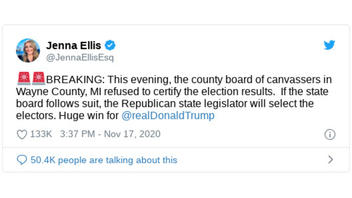 Fact Check: Wayne County, Michigan, Board Of Canvassers Did NOT 'Refuse' To Certify The Results Of The Presidential Election -- First They Deadlocked, Then They Certified The Votes