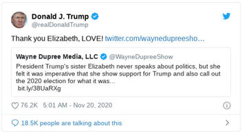 Fact Check: Trump's Older Sister, Elizabeth Trump Grau, Did NOT Tweet In Support Of The President