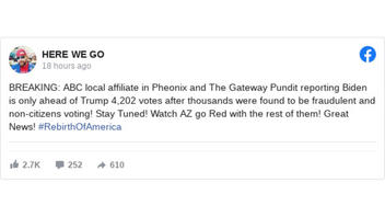 Fact Check: ABC-TV's Phoenix Affiliate Did NOT Report Thousands Of Fraudulent And 'Non-Citizen' Votes Found In Arizona Cut Joe Biden's Lead